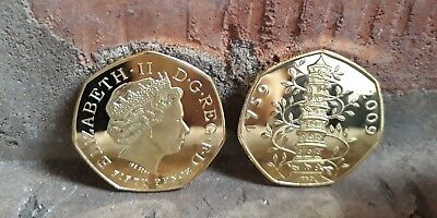Kew Gardens 50p coin 2009 GOLD 24k tinted   Brilliant & Uncirculated SOUVENIR UK