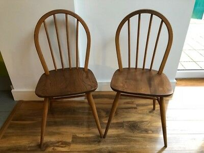 2 x ERCOL WINDSOR BLONDE MODEL 400 HOOPBACK CHAIRS Vintage Retro