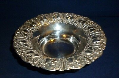 Hazorfim, Israeli Silver Bowl Embossed with Pears to the Rim with 3 claw feet