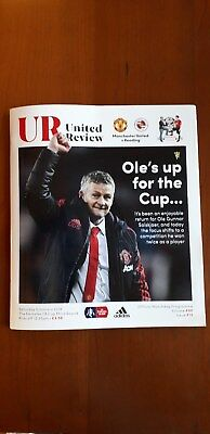 Manchester United vReading 2018/19 FA Cup Third Round Match Programme.