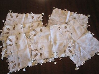 Set 5 Fine Antique Turkish Ottoman 19Th C Hand Embroidered Napkins Mats Doilies