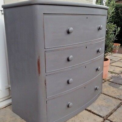 Antique Edwardian/Victorian Mahogany bow fronted chest of drawers painted