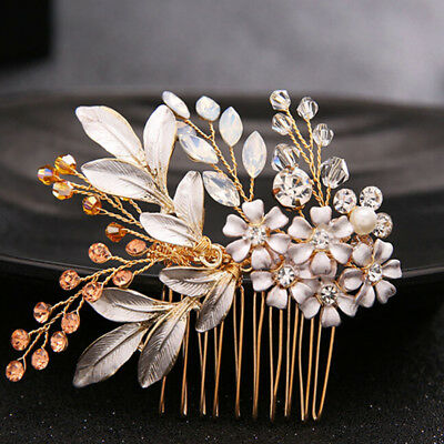 Bridal Crystal Hair Comb Wedding Party Flower Hairwear Hair Clip Pins-Jewelry