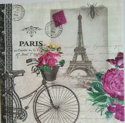 4x paper napkins use for decoupage.París vintage theme.Servilletas de papel