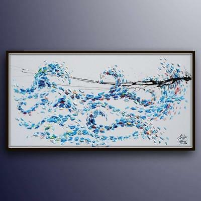 """Swirling Sea 67"""" Original oil painting on canvas, Thick blue paint, handmade"""