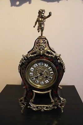 Victorian Antique French 8 Day Boulle Mantle Clock Fully Working