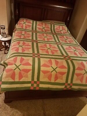 Gorgeous Antique Tulips Finely Hand Quilted Quilt Mint