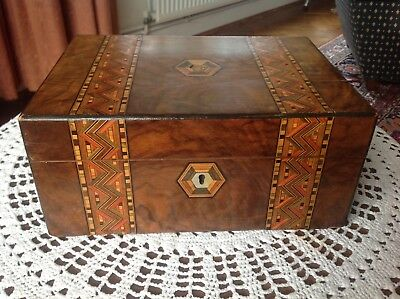 Antique Victorian Walnut  Parquetry Sewing  Box.c1860-1880