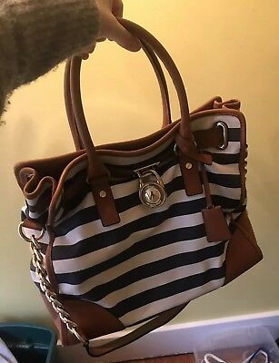 Michael Kors Hamilton Large Canvas Leather blue white Stripe Tote Satchel  Bag bf63f18cae00d