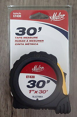 """New Malco CT430 1"""" x 30 foot tape measure Rubber Clad Housing"""