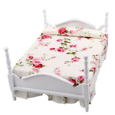 1/12 Scale Dollhouse Furniture Miniature Floral Bed R1B4