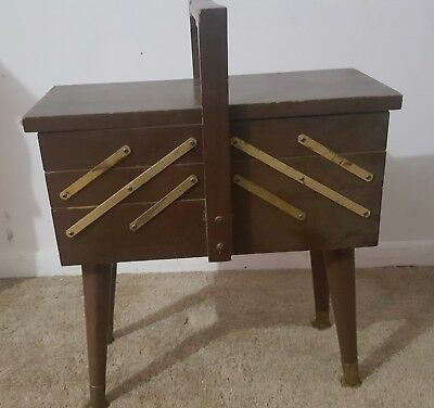 Vintage Strommen Bruk Hamar Accordion Style Wooden Sewing Box Wood Fold Out