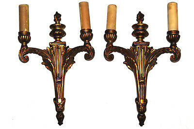 Antique Bronze French Empire Two Arm Lamp Wall Sconces  PAIR