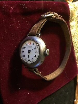 solid silver Very Old Military Watch