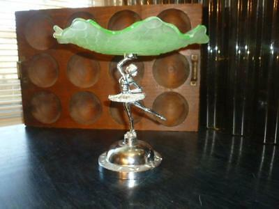 England Ballerina Metal Base Green Glass Ruffled Edge Compote Candy Bowl Dish
