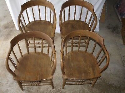 Firehouse Captain's Chairs - set of four Solid (Possibly Elm or HicKory?)