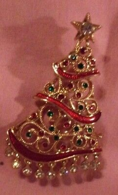 Christmas Tree Pin Brooch Avon 2016 Amazing Dangly Rhinestone Charms