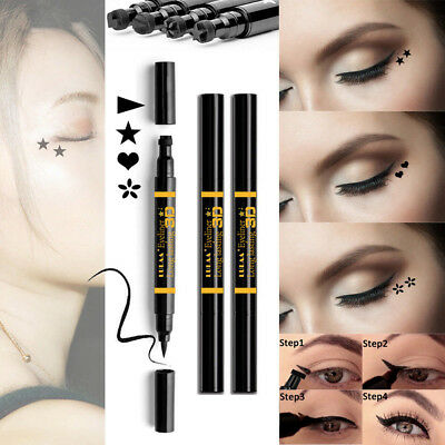 Black Dual-ended Lasting Waterproof Liquid Eyeliner Pen with Tattoo Stamp-Seal