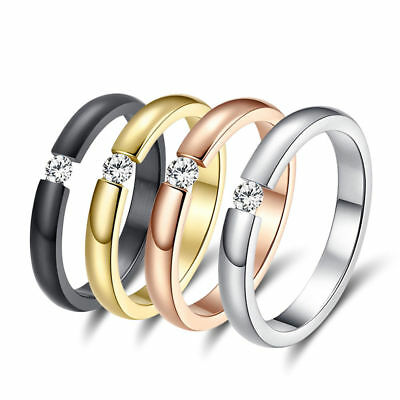 Size 5-13 Fashion Women Men Stainless Steel Crystal CZ Wedding Band Ring-Jewelry