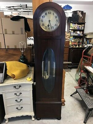 Beautiful Mahogany Case Brass Dial Triple Weight 1930s Long Case Clock