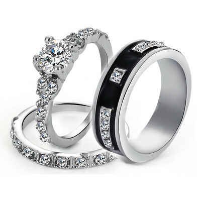 3 Pcs His & Her Stainless Steel Wedding Engagement Couple Matching Ring Band-Set