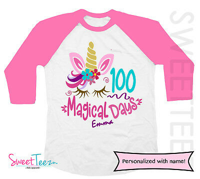Personalized 100 Days Of School Shirt For Girl Unicorn Pink Raglan Top