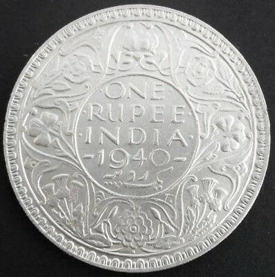 British India ~ King George VI, 1940, Rupee 1, Bombay Mint, Silver Coin (S-760)