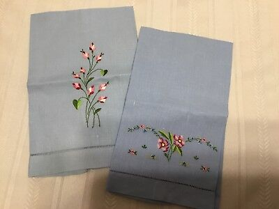 set of 2  vintage blue hand towels with embroidered flowers New! (E50)