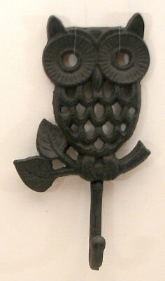 Cast Iron Owl Coat Hook Rustic Set of 2