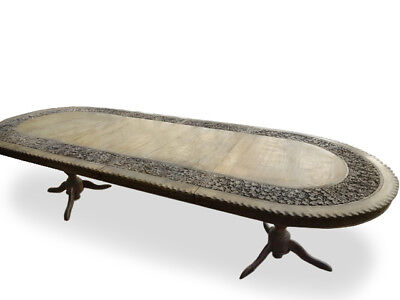A very rare magnificent Solid Walnut carved Antique table, pro French polished.