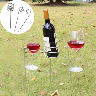 1X(3Pcs/set Outdoor Wine Glass Bottle Holder Stake Set for BBQ Garden Picni N6F0