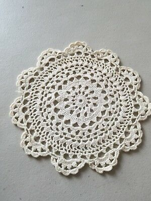 """Vintage Off-White 6"""" Hand Crocheted Doily"""