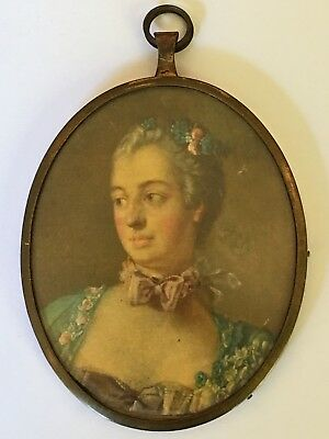 French Antique Decorative Miniature Portrait Painting Of Young Lady