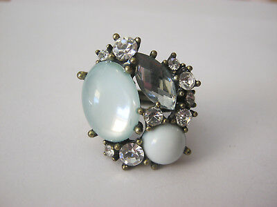 Large vintage costume ring, gold tone with  clear & colored stones, adjustable