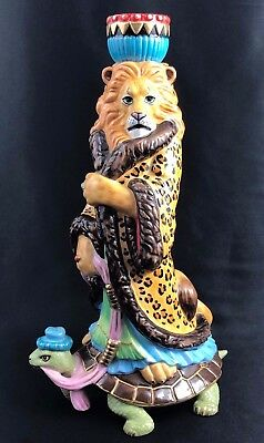 Lynn Chase Candlestick Holder VERY RARE King Lion on Turtle