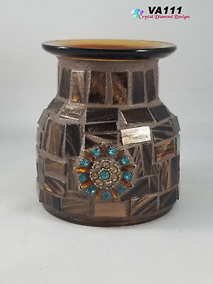 Gold and Brown Jeweled Glass Vase Mosaic Handmade by the Artist  VA111