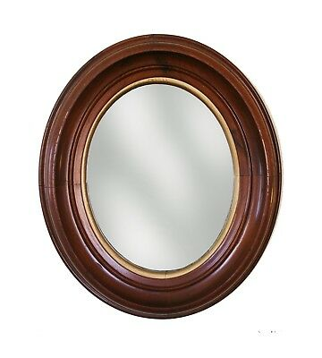 """Antique Victorian Oval Walnut Frame with Mirror, overall size 13"""" x 11-1/4"""""""
