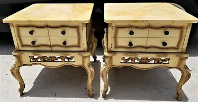Vtg Pair of French Provincial Marble Top End Tables Night Stands Side
