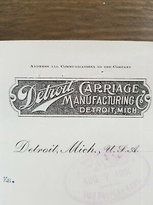 RARE 1901 Billhead Detroit Carriage Manufacturing Illustrated SIGNED by founder!