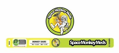 Space Monkey Meds ANY STRAIN Cali Tin Label 100ml (LEAVE STRAIN IN NOTES)