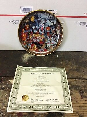 Franklin Mint A Pepsi-Cola Halloween by Bill Bell Collector Plate 1995