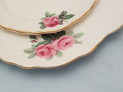 Vintage Royal Vale pink roses bone china two tier cake stand vgc