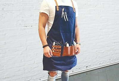 BARBER PRO Barber Apron Cape Gown Waxed Canvas DENIM BLUE