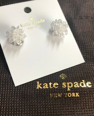 689e98bf418c4 $48 KATE SPADE gold tone multi crystal flying colors White stud earrings