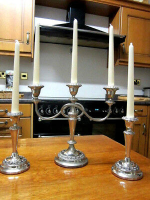 Old Antique Regency Style Silver Plate Candelabra and pair Matching Candlesticks