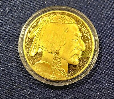 2015 Proof Buffalo/Indian Head 24K PlateDollar Proof Coin Collectible. COPY