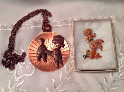 Vintage Pair Of French Poodle Pin And Necklace Jewelry Gerry's, Bell Copper