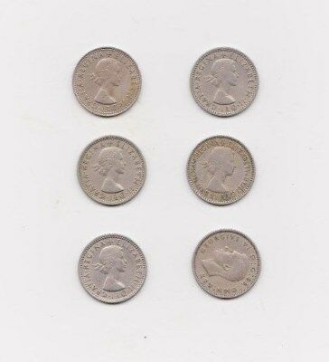 Random Collection of Old British Sixpences 1947 to 1967