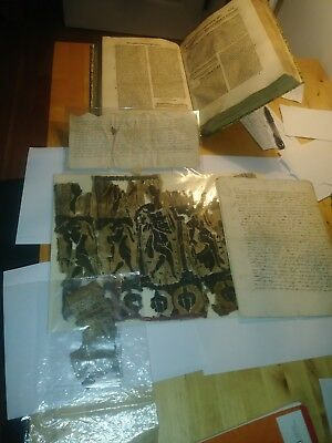 (1)P.incunable Folio, (2)Large Ancient Egypt Textile (3)Papyrus (4)Medieval Deed