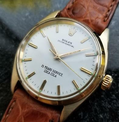 Rolex Oyster Perpetual Vintage 1962 Coca Cola Solid 14k Gold 1003 Automatc LV429